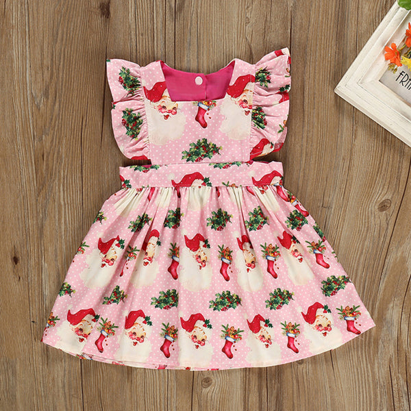 Santa Pattern Baby Toddler Girl Ruffled Sleeve Dress