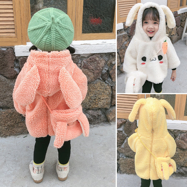 Winter 2-Piece Cute Bunny Style Fleeced Hoodies Matching Mini Bag