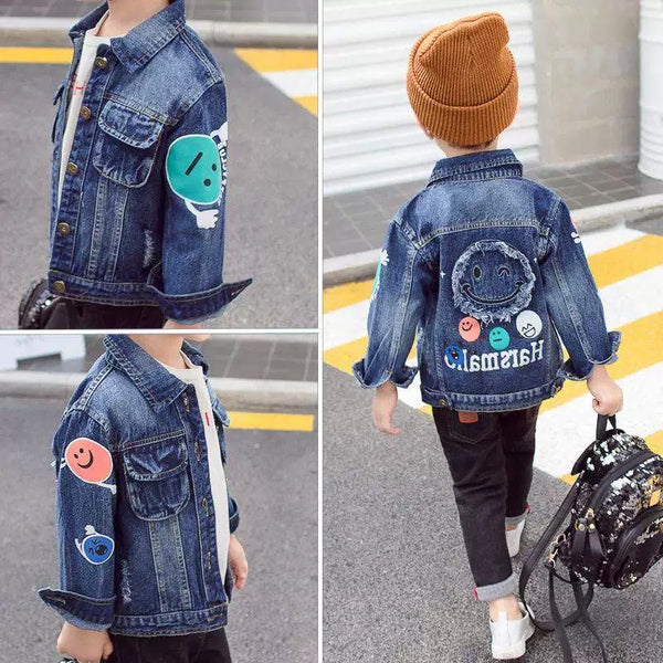 Fashion Coat Big Smile Pattern Denim Jacket Kids Big Boys Jeans Jacket