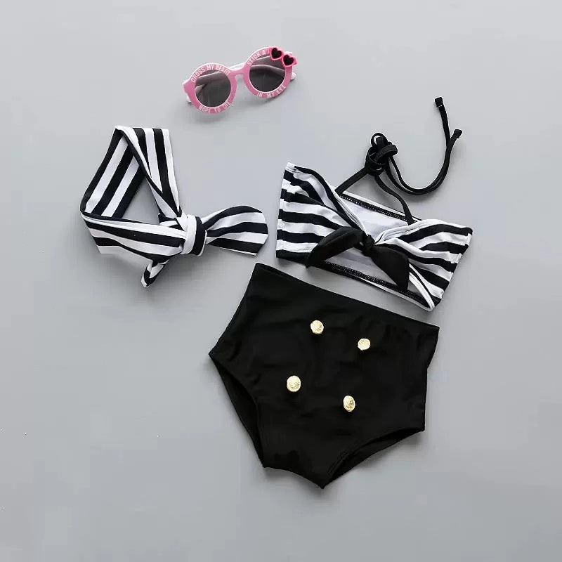 3-Piece Toddler Girls Swimwear Set Bikini + Swimming Trunks + Headband
