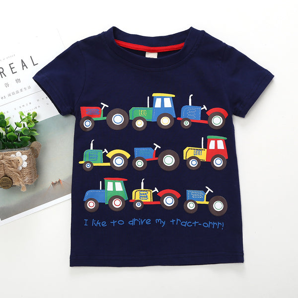 Cool Tractors T-shirt Print Cotton Tee Short-sleeved Top for Baby Toddler Boys