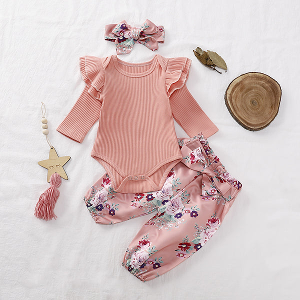 Fall 3-Piece Set Baby Girl Ruffled Sleeve Ribbed Romper and Pants and Headband