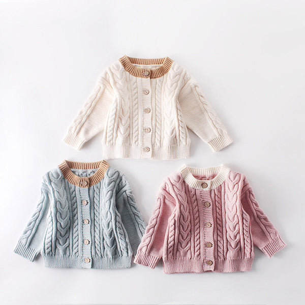 3 Colors Winter Baby Unisex Fleece-lined Knitted Cardigan