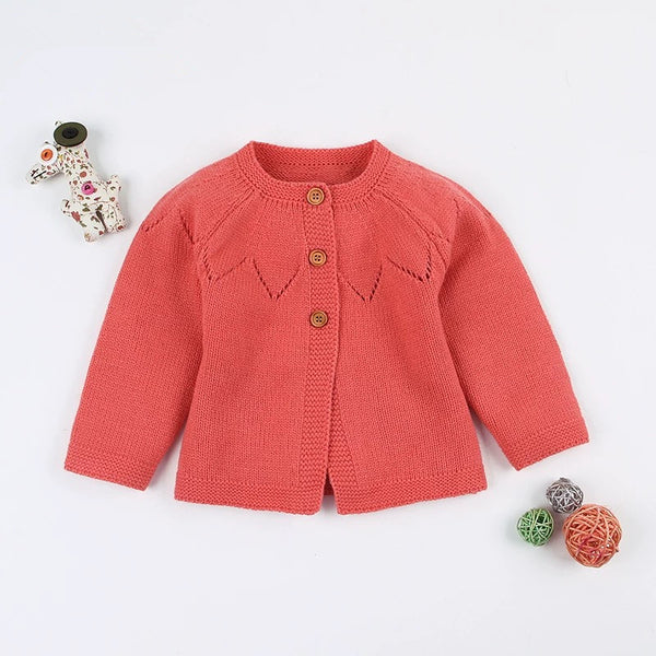 Autumn Baby Button Crochet Cardigan