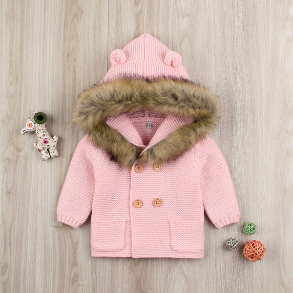 Animal Ears Warm Collar Hoodie Long Sleeve Coats Buttoned Knitted Wear Baby Cardigan