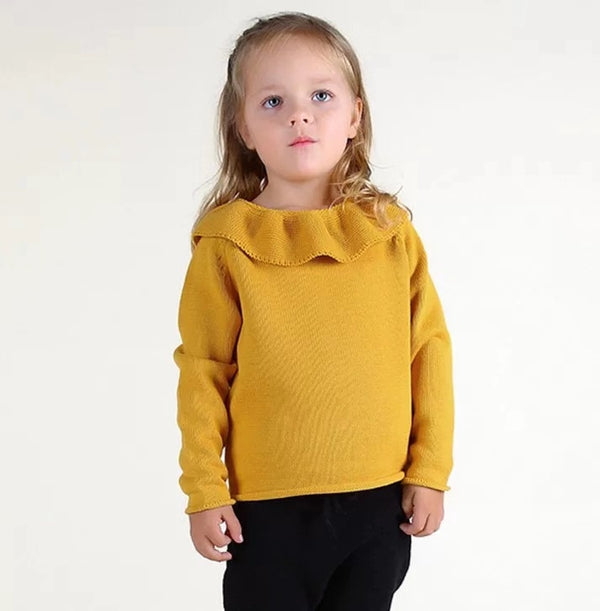 Ruffled Collar Knitted Pullover Sweater Top for Babies Toddlers Girls