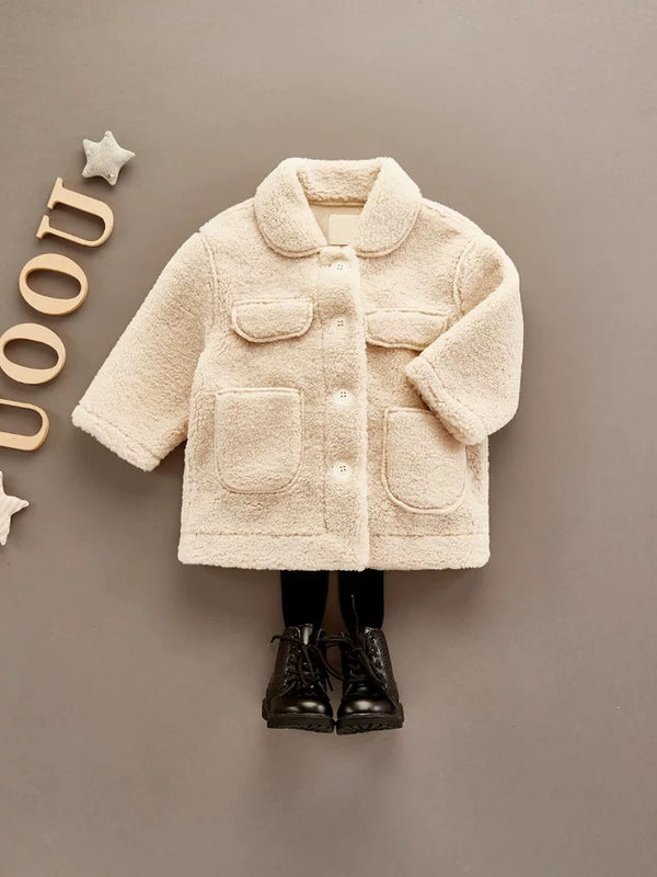Winter Trendy Little Girl Solid Color Berber Fleece Jacket