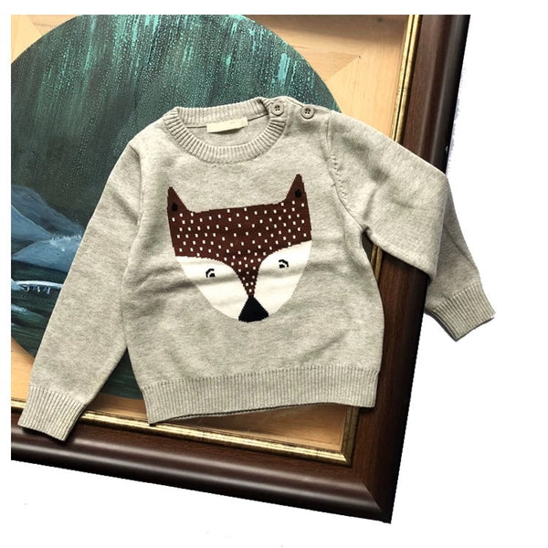 3 Colors Cute Fox Cotton Sweater Long-sleeve Knitwear for Baby Toddler Boys Girls