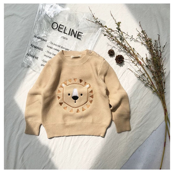 Winter Cute Sweater Bear Lion Embroidery Pattern Jumper Classic Crew Neck Knitwear