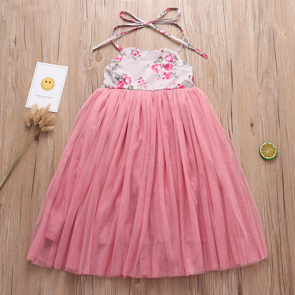 Lace Up Dress Tulle Patchwork Flower Halter Neck Party Dress