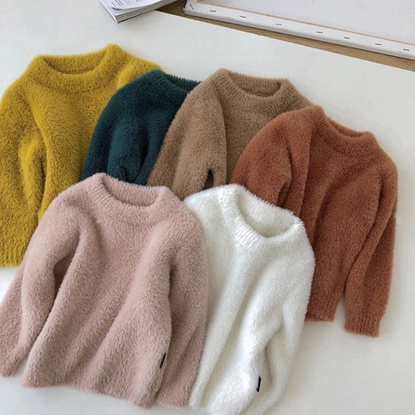 Winter Baby Toddler Girl Solid Color Soft Sweater