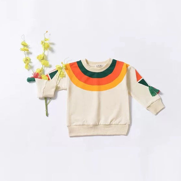 Rainbow Tassel Pattern Baby Little Girl Top Jumper