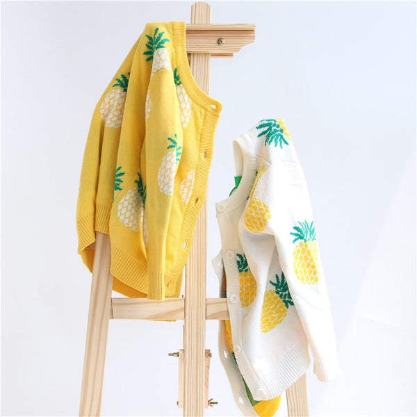MOMMY AND ME Pineapple Cardigan Top Long-sleeve Knitwear