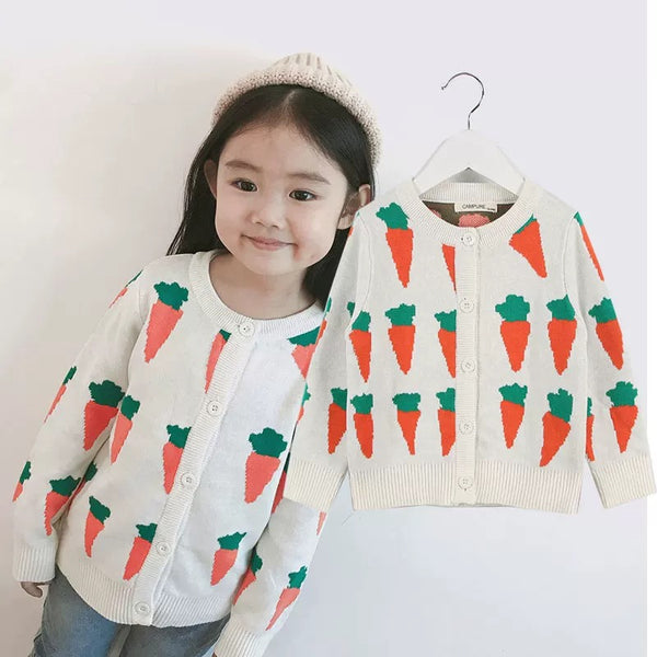 MOM AND ME Carrots Knitwear Cotton Cardigan Top for Boys Girls Adults