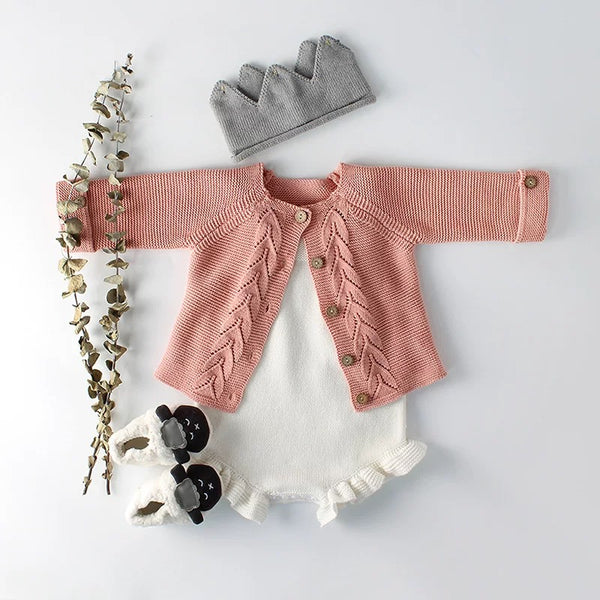 2 Colors Baby Boy Girl Long Sleeve Knitted Cardigan