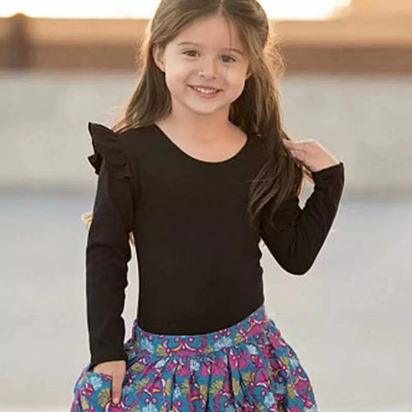 Baby Little Girls Flutter Long Sleeve Pullover