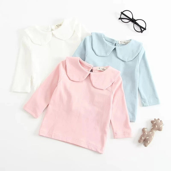 Solid Color Long Sleeves Shirt Turndown Collar Baby Girls Undershirt