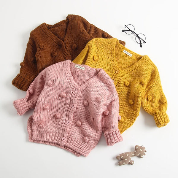 3 Colors Crochet Pom Pom Cardigan Baby Girl Knitwear Top for Autumn Winter