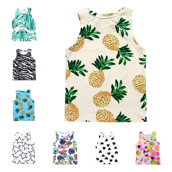 4 Kinds Unisex Baby Clothes Printed Cotton Blend Tank Top