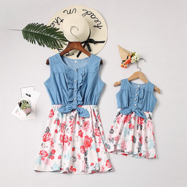 Mom And Me Family Fitted  Flower Denim Patchwork Sleeveless Kids Dress