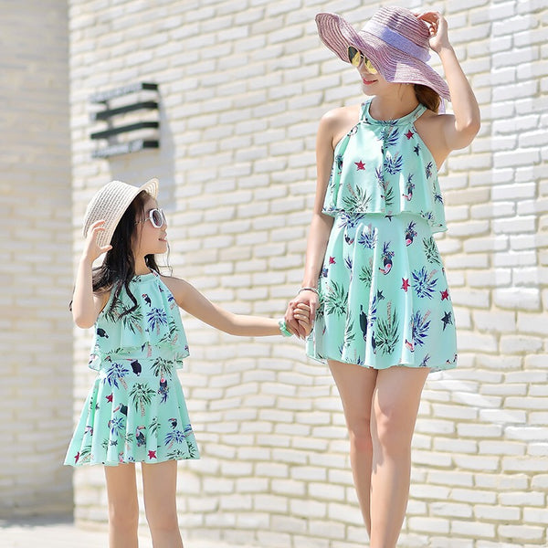 Mommy And Me Family Fitted Bird Leaf Print Swimwear