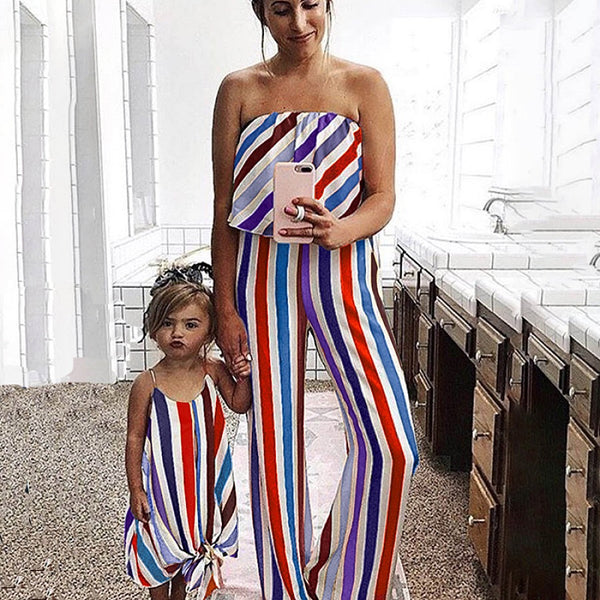 Mommy and Me Family fitted  Colorful Stripe Dress Outfit