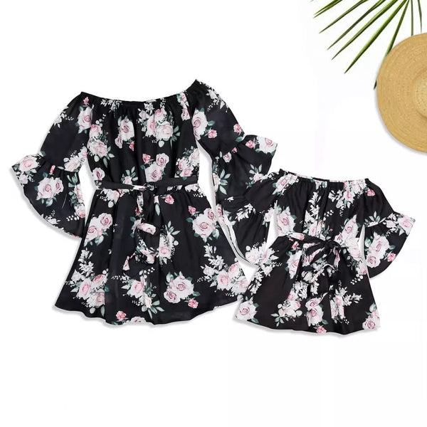 Mommy and Me Family Fitted Flower Overall Print Off Shoulder Dress