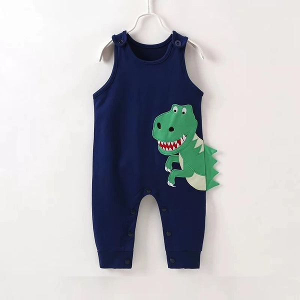 Baby Boy Dinosaur Pattern Sleeveless Playsuit