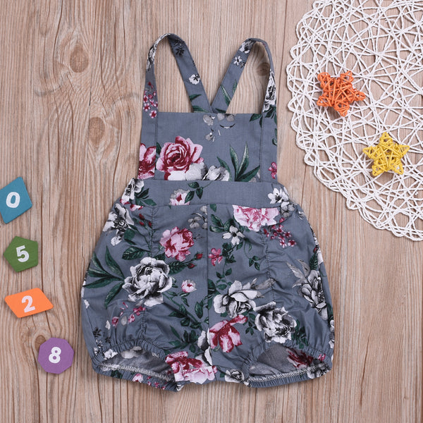 Baby Girls Flower Suspender Short Pants Spring Summer
