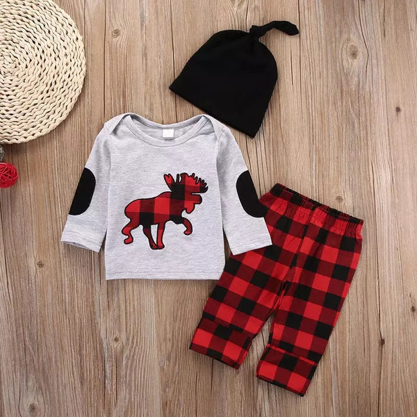 3-Piece Baby Boy XMAS Deer Outfits Top and Checked Pants and Hat
