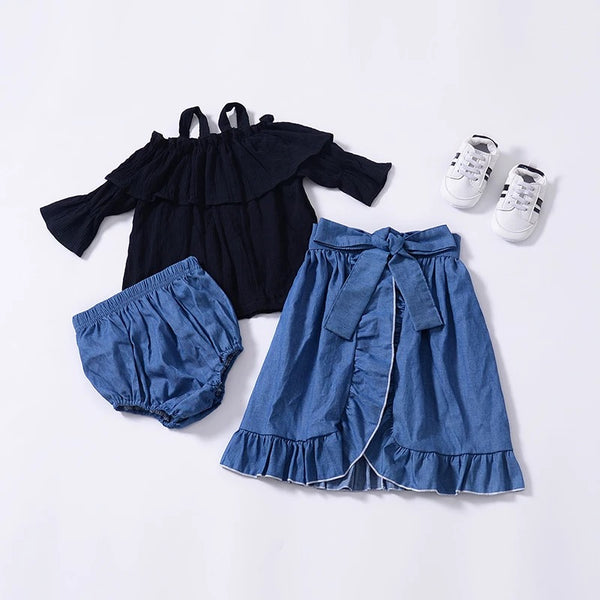 3-piece Outfits Boat Neck Trumpet Sleeves Shirt Top and Short Pants and Bow Tie Falbala Wrap Around Skirt