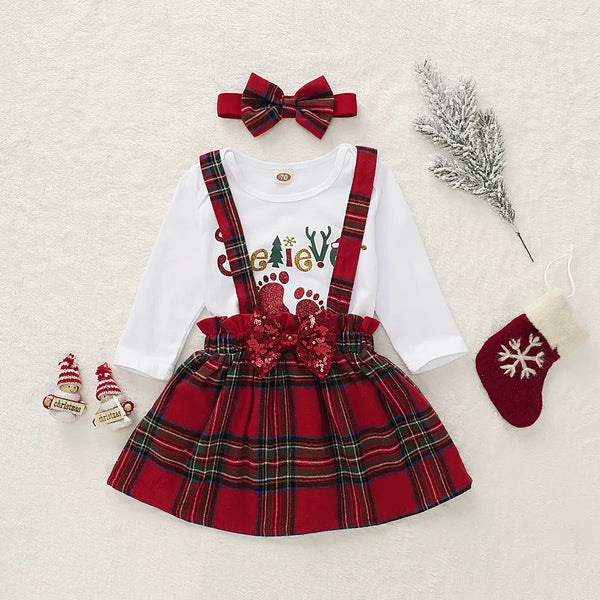 3-Piece Christmas Outfits Adorable Baby Girl Onesie and Bow Jumper Skirt and Headband