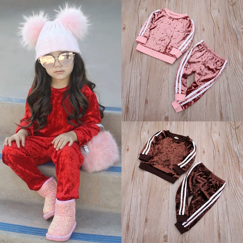 4 Colors Indoor Toddler Kids Baby Spring Striped 2-piece Velvet Clothes Set Jumper and Pants