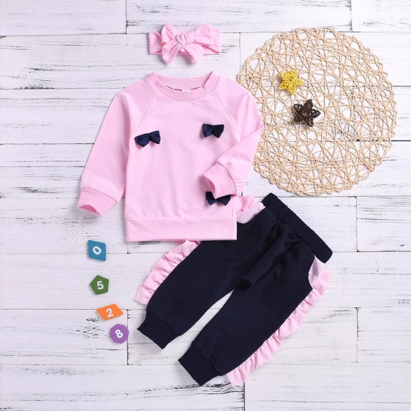 Pink 3-piece Outfits Baby Little Girl Bow Jumper and Ruffle Pants and Bowknot Headband