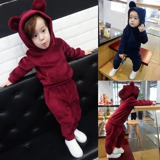 4 Colors Unisex Spring Indoor Bear Ear Style Velvet  2-Piece Clothes Outfits Hoodie and Pants