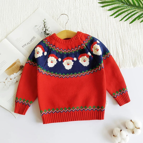 Toddler Boys Girls XMAS Reindeer/ Santa Fleece-lined Sweater