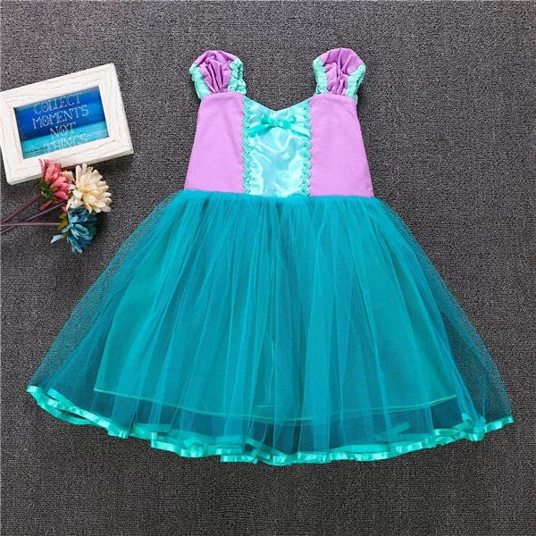 Halloween Mermaid Girls Princess Dress Bowknot Splicing Cotton Party Dress