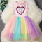Unicorn Sequins Sleeveless Dress Rainbow Color Mesh Patchwork Dresses