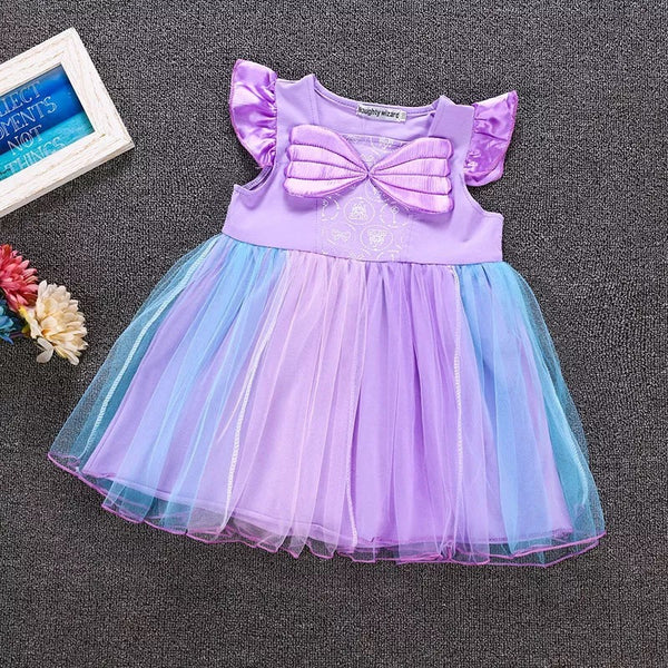 Cap Sleeves Wings Colorful Party Wear Tulle Cotton Baby Girls Princess Party Dress