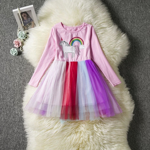Fashion Unicorn Pattern Long Sleeve Tulle Princess Dress Halloween Party Dress