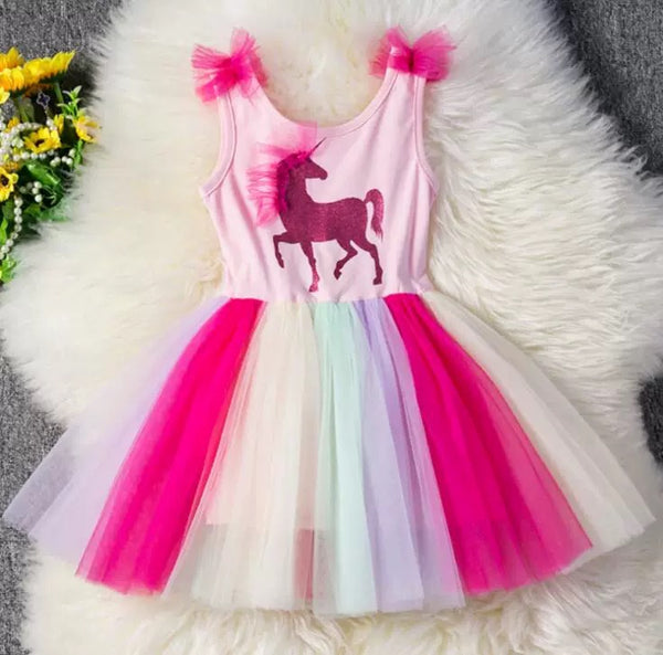 Unicorn Sleeveless Party Wear Color-blocking Mesh Party Girl Dress