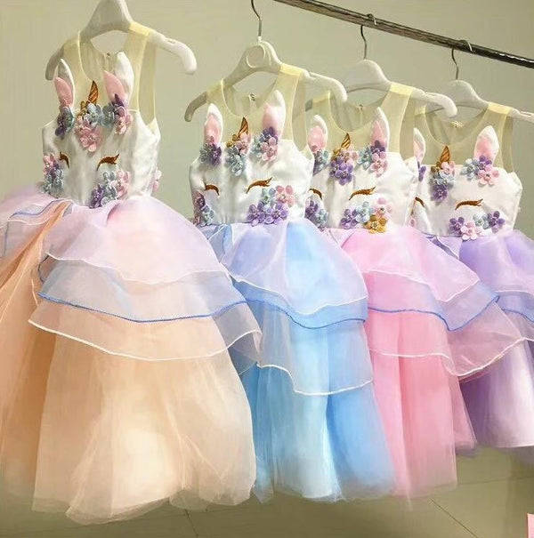 2 Colors Unicorn Pattern Appliqued Tulle Lacework Girls Princess Party Dress Blue/Pink