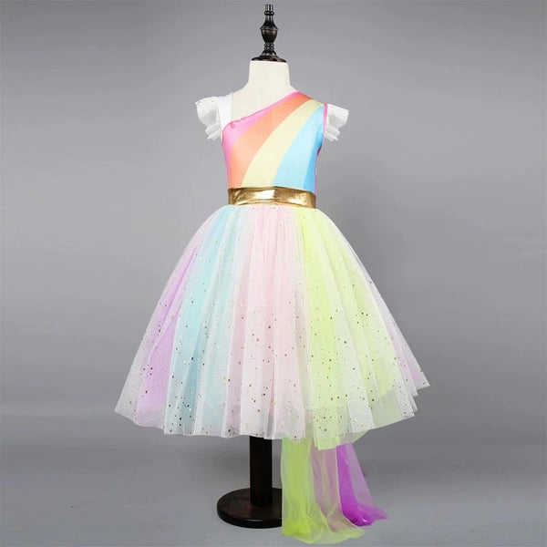 Stylish Flutter Sleeve Colorful Mesh Princess Dress Summer Fit and Flare Color-blocking Party Dress