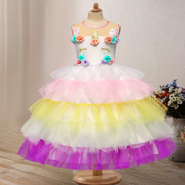 2 Kinds Flower Trim Unicorn Layered Princess Party Dress