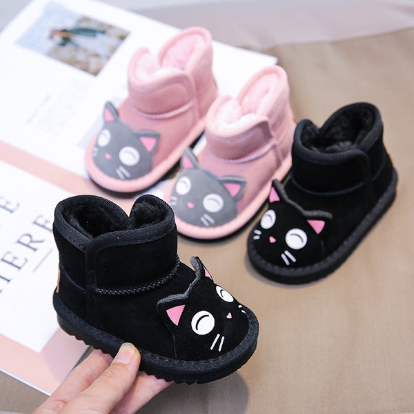 Toddler Kids Unisex Adorable Cat  Snow Boots Pink and Black