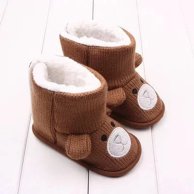 Brown Winter Cute Baby Bear Style Fleecee-lined Snow Boots
