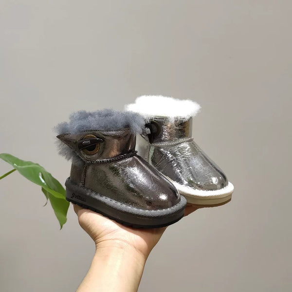3 Colors Fashion Girl Solid Color Claw Button Fur Snow Boots