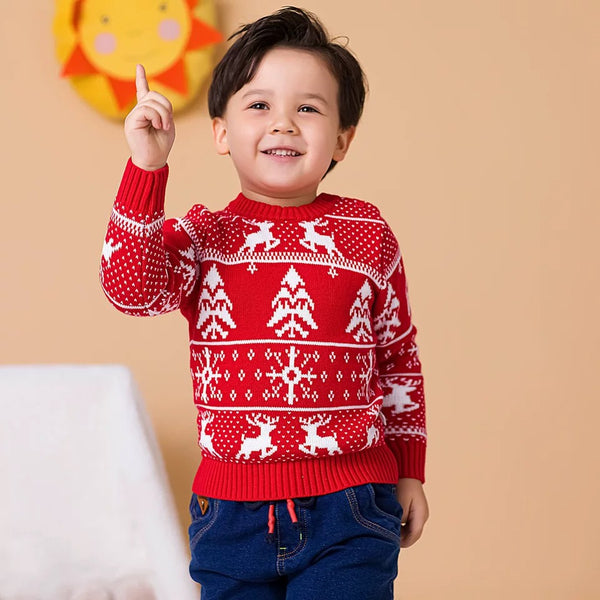 2 Colors Toddler Kids XMAS Tree Reindeer Crochet Sweater