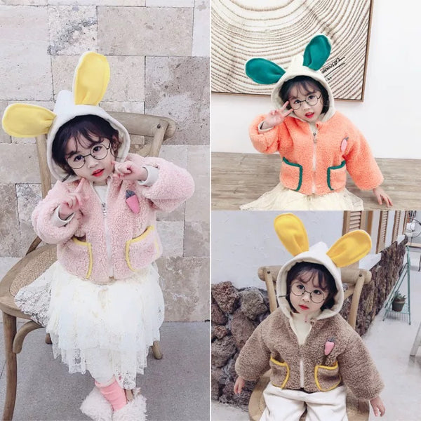 3 Colors Winter Cute Little Girls Fleece-lined Bunny Ear Hooded Coat