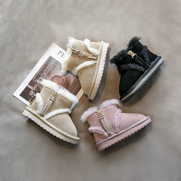 Fashion Side Zip Warm Fur Trim Snow Boots 3 Colors